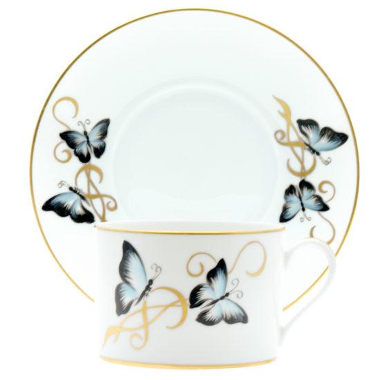 assiette tasse papillons bleus