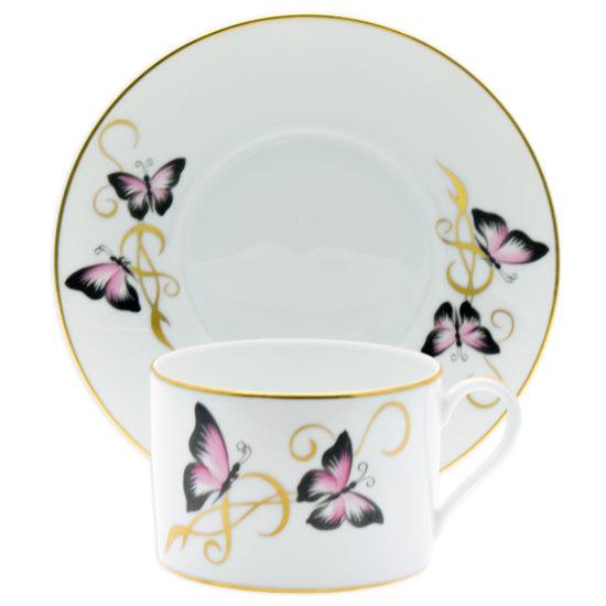 assiette tasse papillons roses1