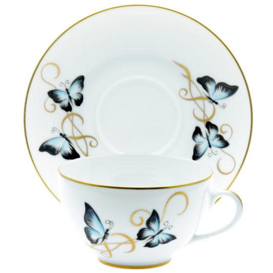 assiette bol papillons bleus