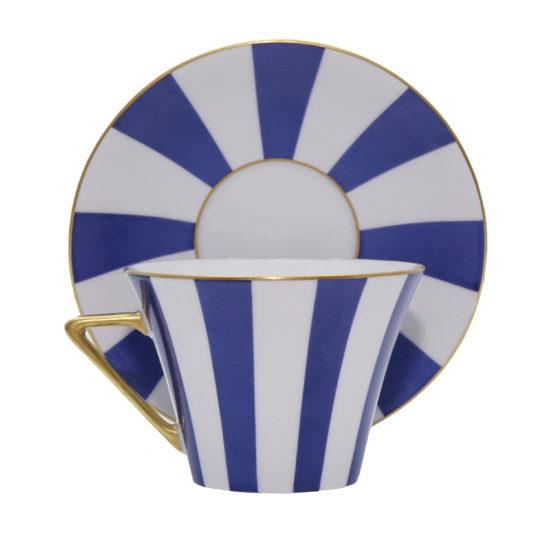 Grande tasse à thé bandes bleues modèle Thalès