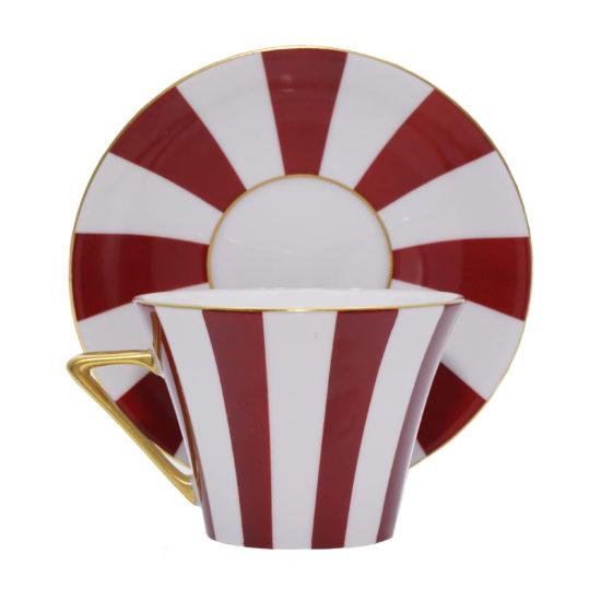 Grande tasse à thé bandes rouges modèle Thalès