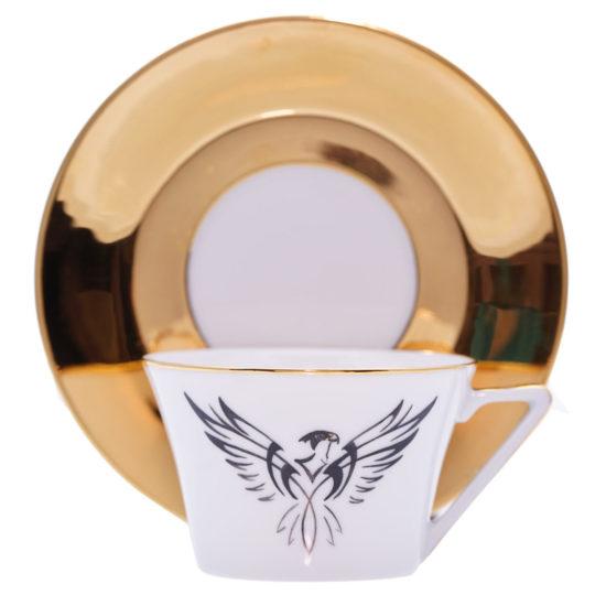 Tasse à thé et sous-tasse Faucon stylisé modèle Thalès