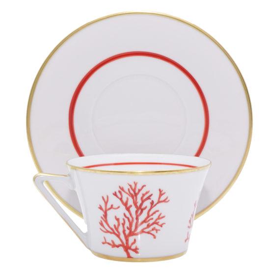 Tasse et sous-tasse à thé collection Cap d'Ail modèle Thalès