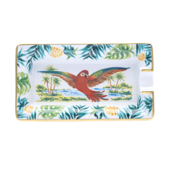 Cendrier perroquet collection Tropicale Floride blanc