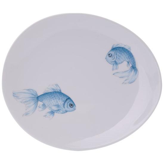 Assiette à dîner collection Poissons japonais bleus modèle Galet