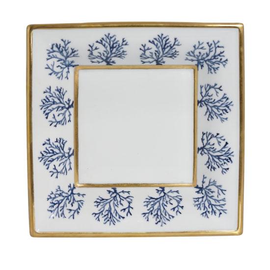 Assiette de présentation collection Corail Cap d'Ail bleu modèle carré