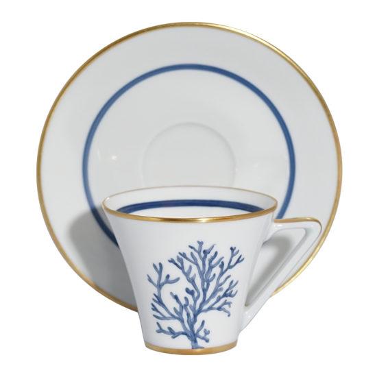 Tasse et sous-tasse à café collection Corail Cap d'Ail bleu modèle Thalès