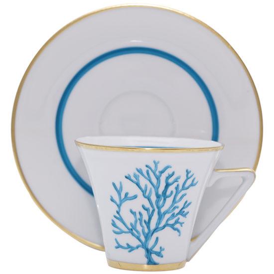 Tasse et sous-tasse aĚ cafeě Corail Bleu modeĚle ThaleĚs